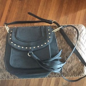 Franco Sarto Blue Suede Fringe Cross Body Bag